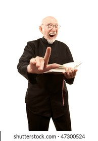 Senior pastor giving a fiery sermon with Bible in hand
