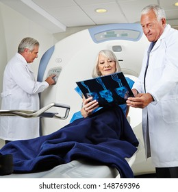 Senior patient getting magnetic resonance tomography in hospital