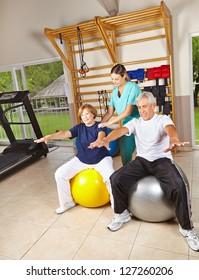 Senior people doing rehab gymnastics on gym balls