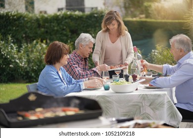 Senior people gathering for summer barbecue lunch