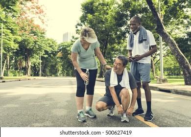 Senior People Jogging Park Happiness Concept