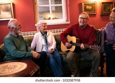 Senior people making party smiling and enjoy together at nursing home