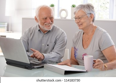 Senior people using laptop computer, smiling.