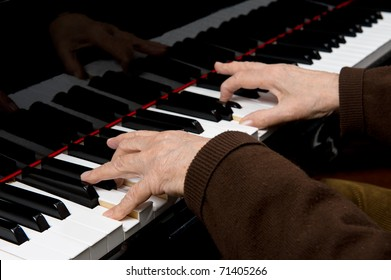 Senior playing the piano