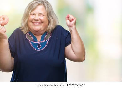144ede47d25 Senior plus size caucasian woman eating sugar donut over isolated background  very happy and excited