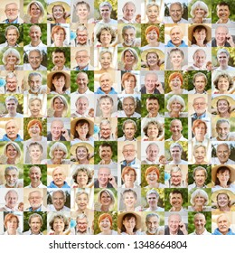 Senior portrait collage as a concept for age, society, pension and community