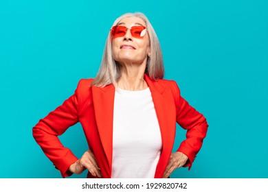 senior pretty businesswoman expressing a concept