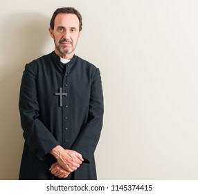 Senior priest religion man with a confident expression on smart face thinking serious