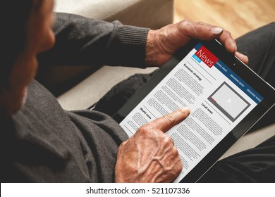 Senior reading news on tablet. Looking information