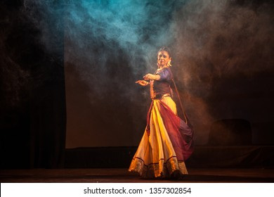 Senior renowned kathak artist looks at a peacock in the horizon at the 'Kathak recital event' held on March 29,2018 at Sevasadan hall in Bengaluru,India