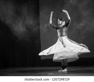 Senior renowned kathak artist sees a legendary bird in the forest at the 'Kathak recital event' held on March 29,2018 at Sevasadan hall in Bengaluru,India
