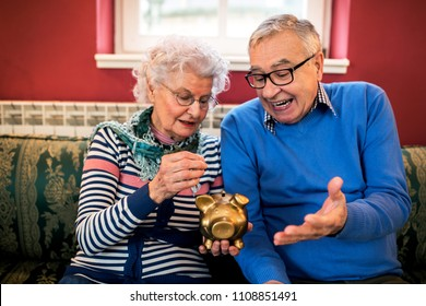 Senior sad couple do not have money for savings