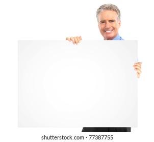 Senior smiling businessman. Isolated over white background