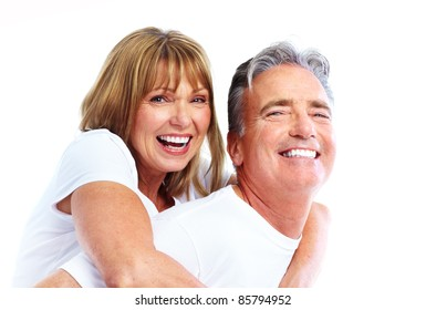 Senior smiling couple in love. Over white background.