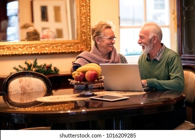 Senior smiling happy couple using computer at beautiful retro home