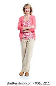Senior smiling healthy woman. Over white background.