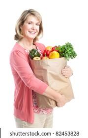 Senior smiling shopping woman. Over white background.