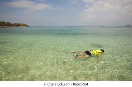 Senior snorkeling