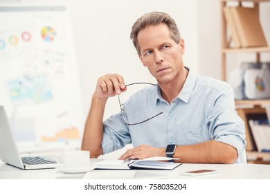 Senior stylish business man in the ofiice