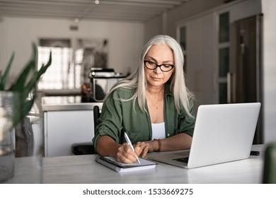 Senior stylish Frau Noten in Notizbuch während der Verwendung von Laptop zu Hause. Alte Freiberufler schreiben Details auf Buch, während sie auf Laptop im Wohnzimmer arbeiten. Konzentrierte coole Dame schreibt Notar in Notizblock.