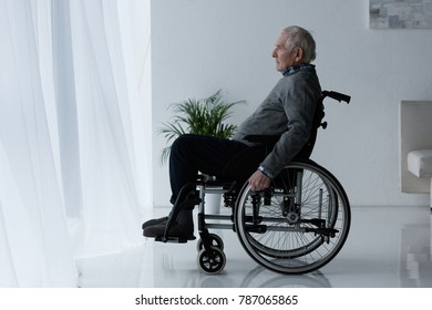 Senior thoughtful man in wheelchair looking in window