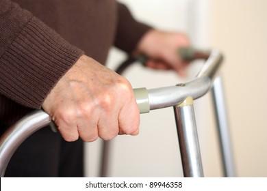 Senior using a walker