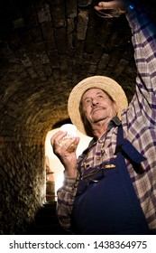 Senior vintner in french straw standing in entrance of wine cellar.
