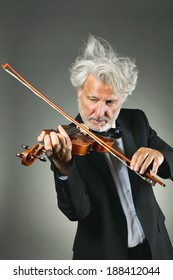 Senior violinist with shining and upset white hairs . Music and concerto concept