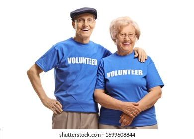 Senior volunteers smiling at the camera isolated on white background