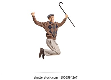 Senior with a walking cane jumping and gesturing happiness isolated on white background
