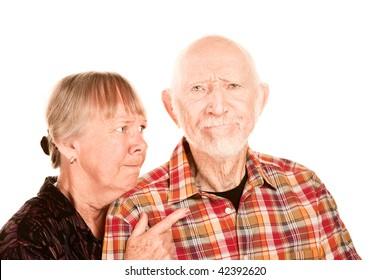 Senior woman in argument with an elder man