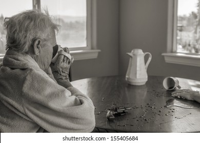 A senior woman calmly drinking coffee after murdering her partner after having endured years of abuse