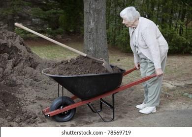 Senior woman carrying dirt in a wheelbarrow