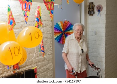 senior woman celebrates 100th birthday