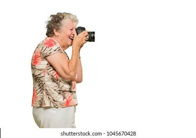 Senior Woman Clicking Photo On White Background