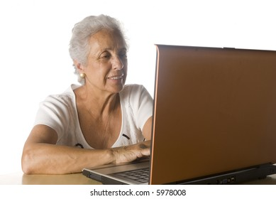 senior woman doing research on-line.