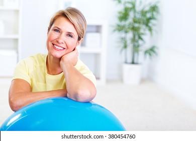 Senior woman doing yoga.