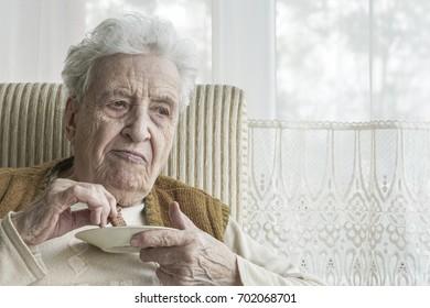 senior woman eating something