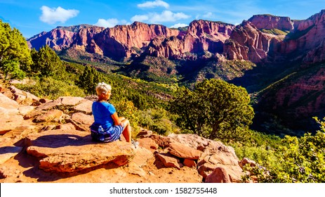 Senior woman enjoying the view of the Red Rock Mountains of the Kolob Canyon part of Zion National Park, Utah, United Sates. Viewed from the Timber Creek Lookout at the top of East Kolob Canyon Road