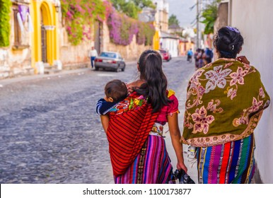 Senior woman in ethnic traditional Latin American dress. Travel background for Guatemala.