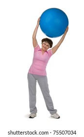senior woman exercising in gym with fitball