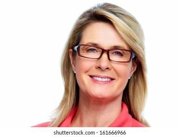 Senior woman with eyeglasses isolated white background