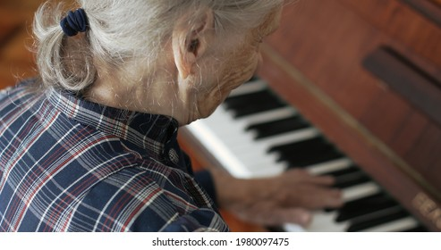 Senior woman with gray hair plays the piano. Hands with deep wrinkles press the keys. Back view.