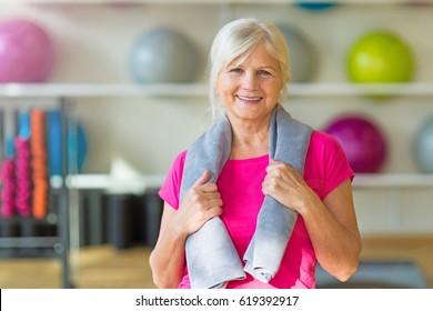 Senior woman at the gym