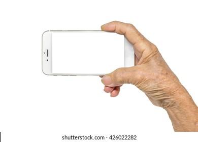 Senior woman hand holding phone isolated on white background