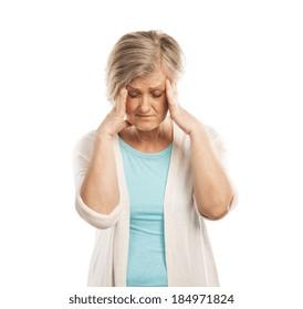 Senior woman has headache, isolated on white background