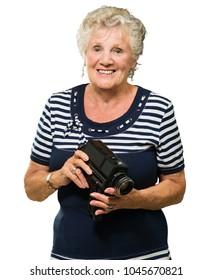 Senior Woman Holding Camera Isolated On White Background