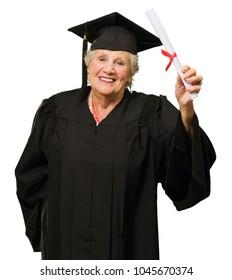 Senior Woman Holding Graduation Certificate On White Background