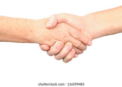 senior woman, man handshake gesture, isolated