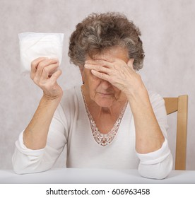 Senior woman with a packed panty liner for urinary incontinence